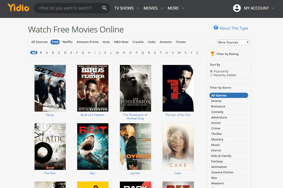 website for tv shows and movies