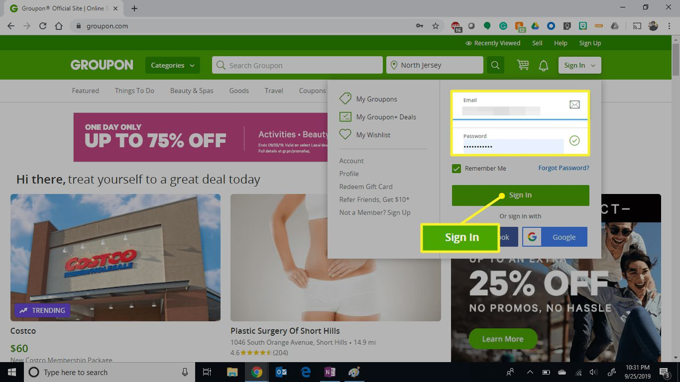 Groupon screen showing log in area and Sign In button