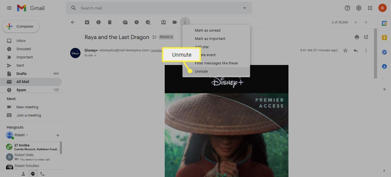 Unmute under the More (...) menu in Gmail