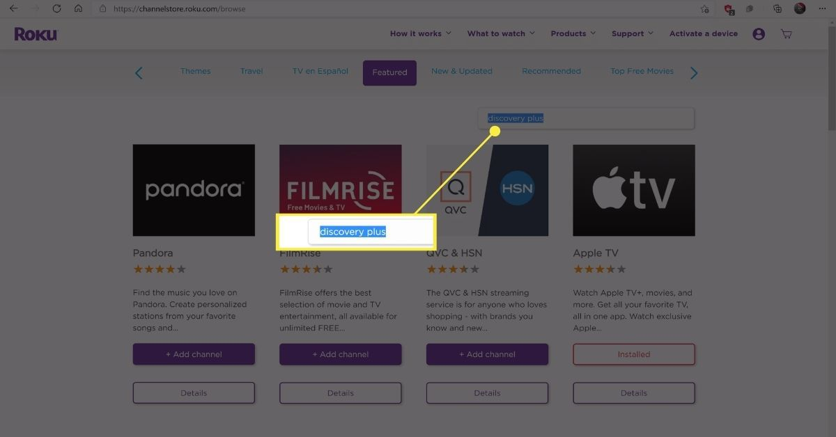 Searching for discovery plus on the Roku channel store.
