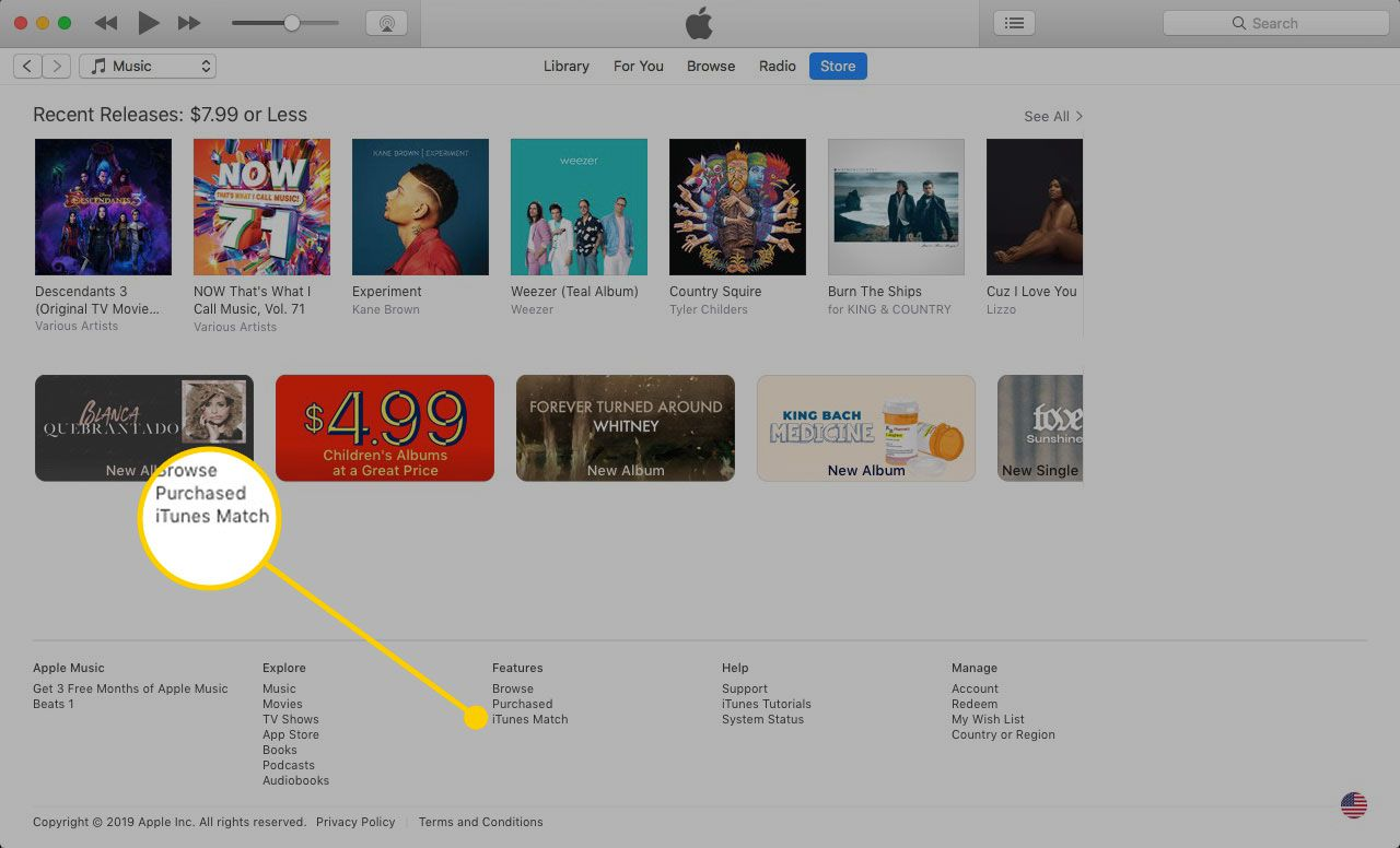 iTunes on a Mac with the iTunes Match item highlighted