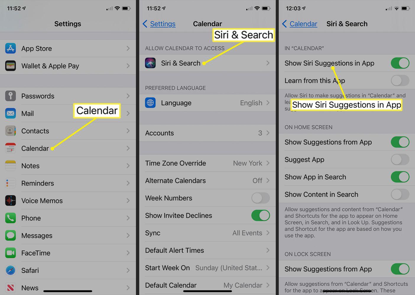 Siri & Search options in the iOS Calendar app settings