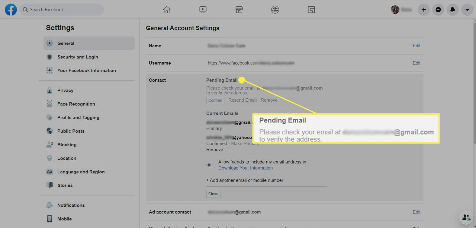 Facebook - message telling you to check your email and verify address