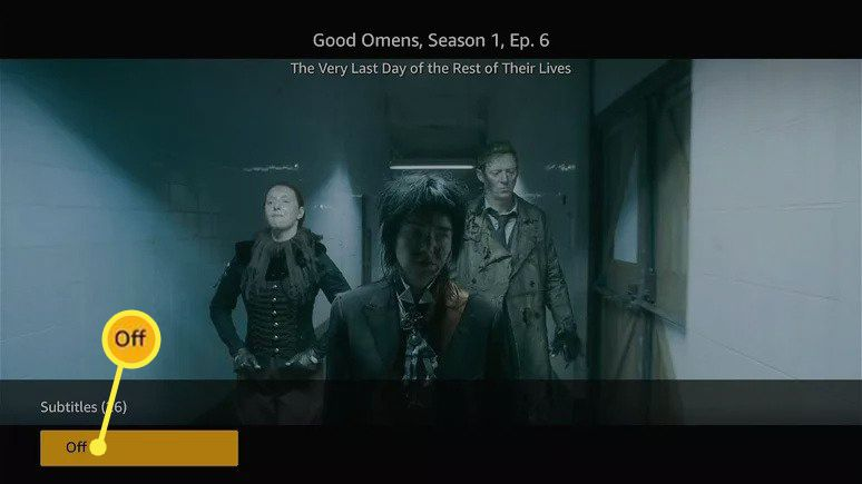 Off under Subtitles highlighted in the Amazon Prime Video app