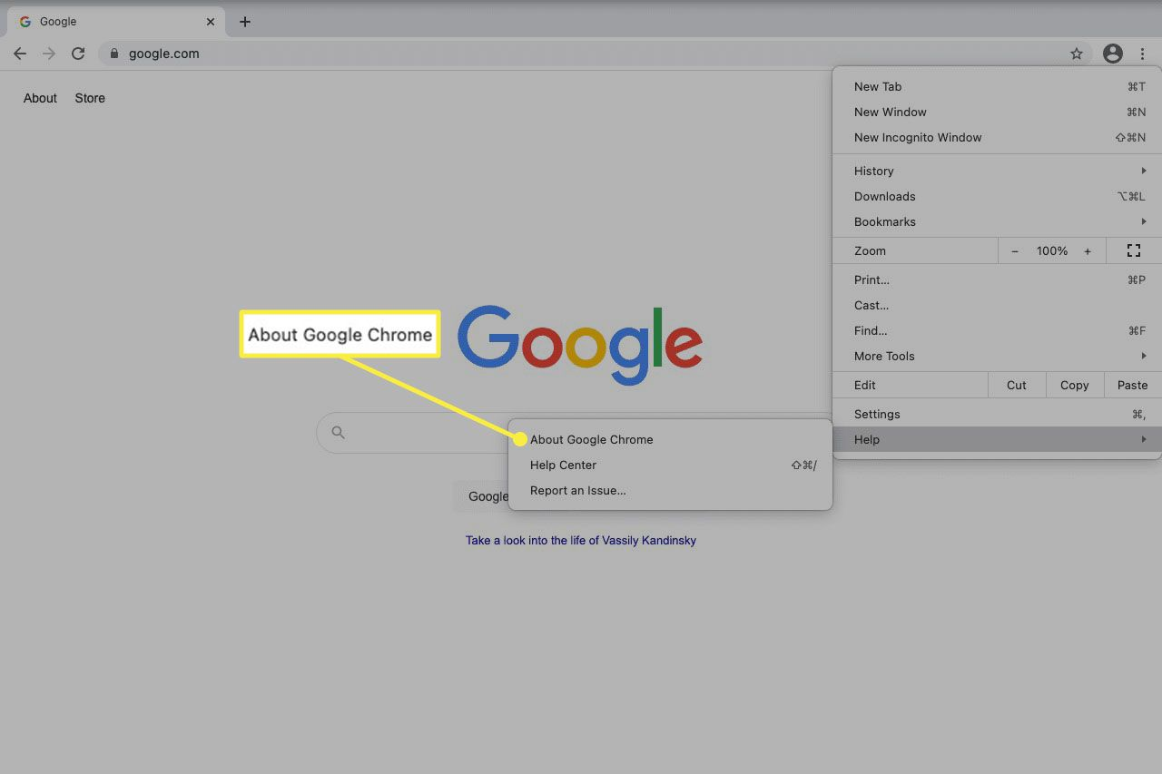 About Google Chrome help menu option in Chrome for Mac.