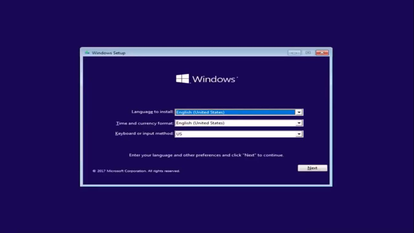 When the Windows installer boots up, make sure the language and region settings are correct, then select Next.