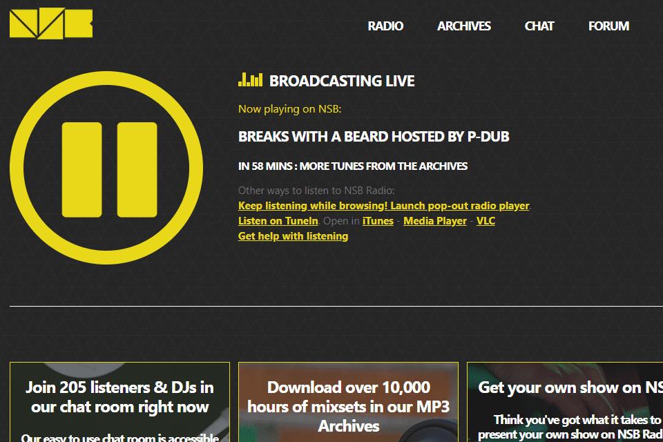 Screenshot of the NBS Radio online radio station