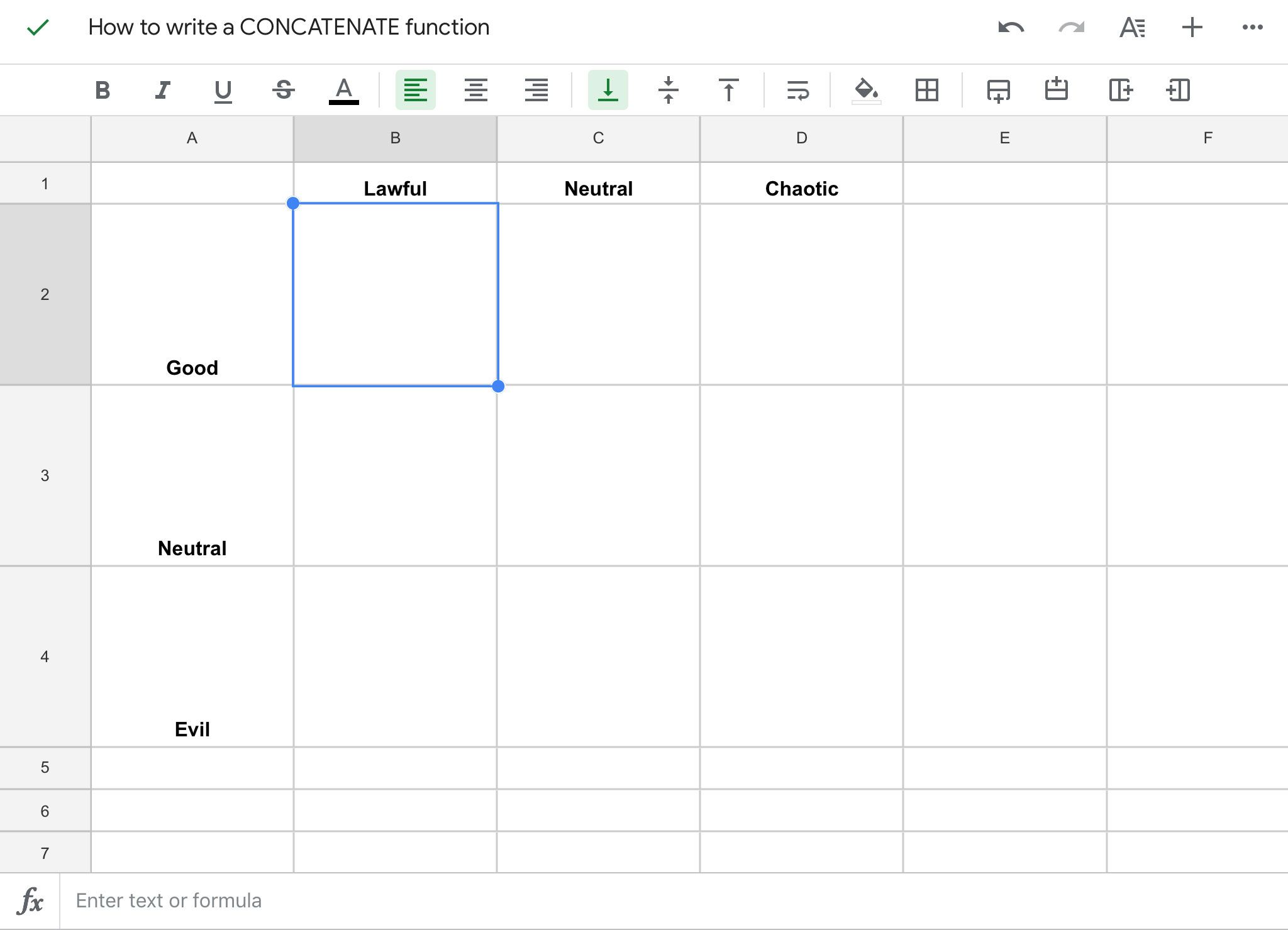 Google Sheets Concatenate Function