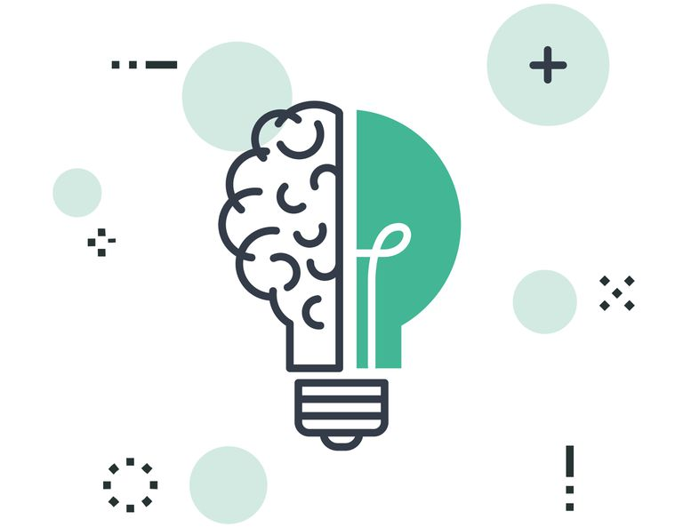 Half a lightbulb combined with a brain to represent brainstorming