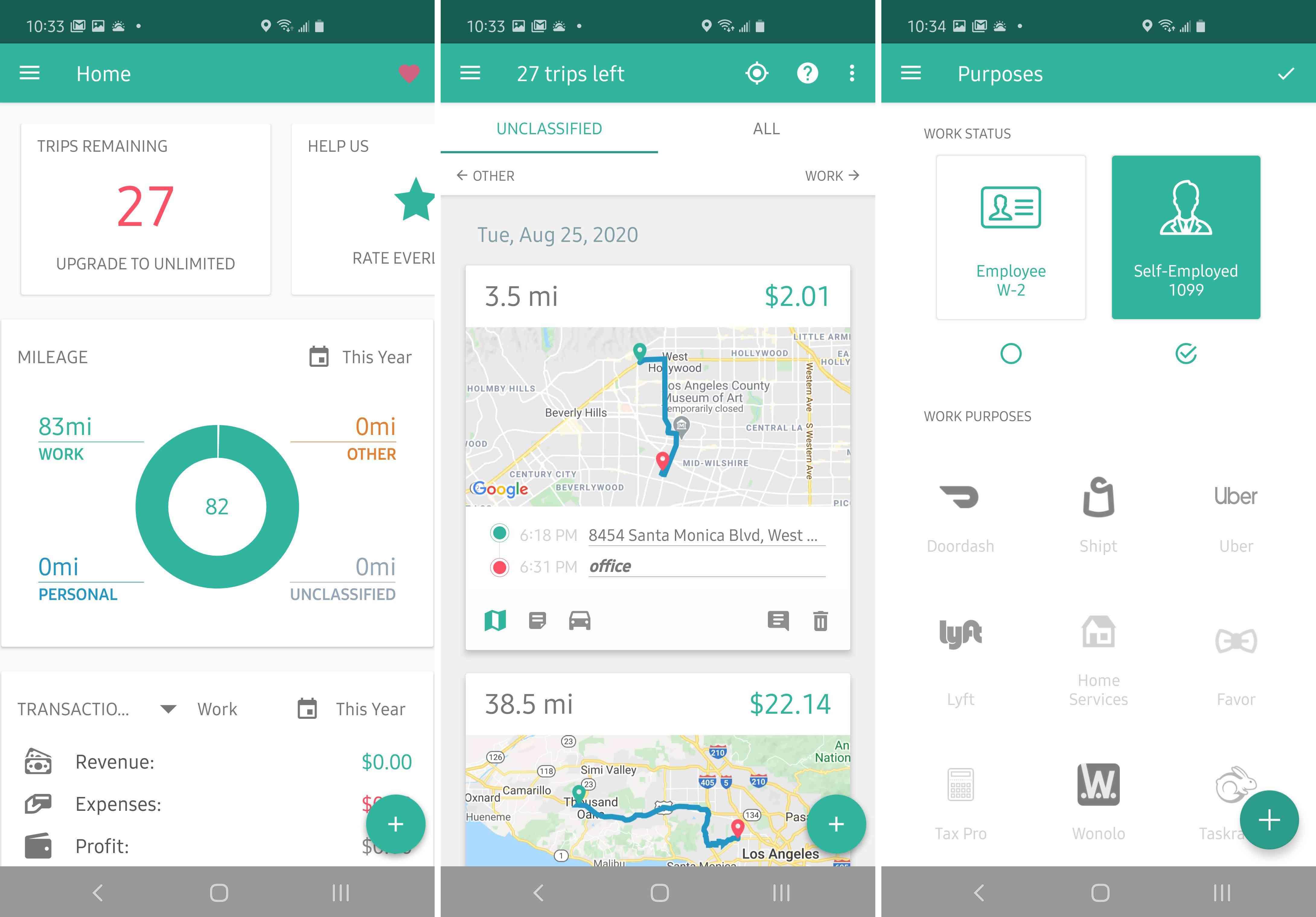 Three views of the Everlance app