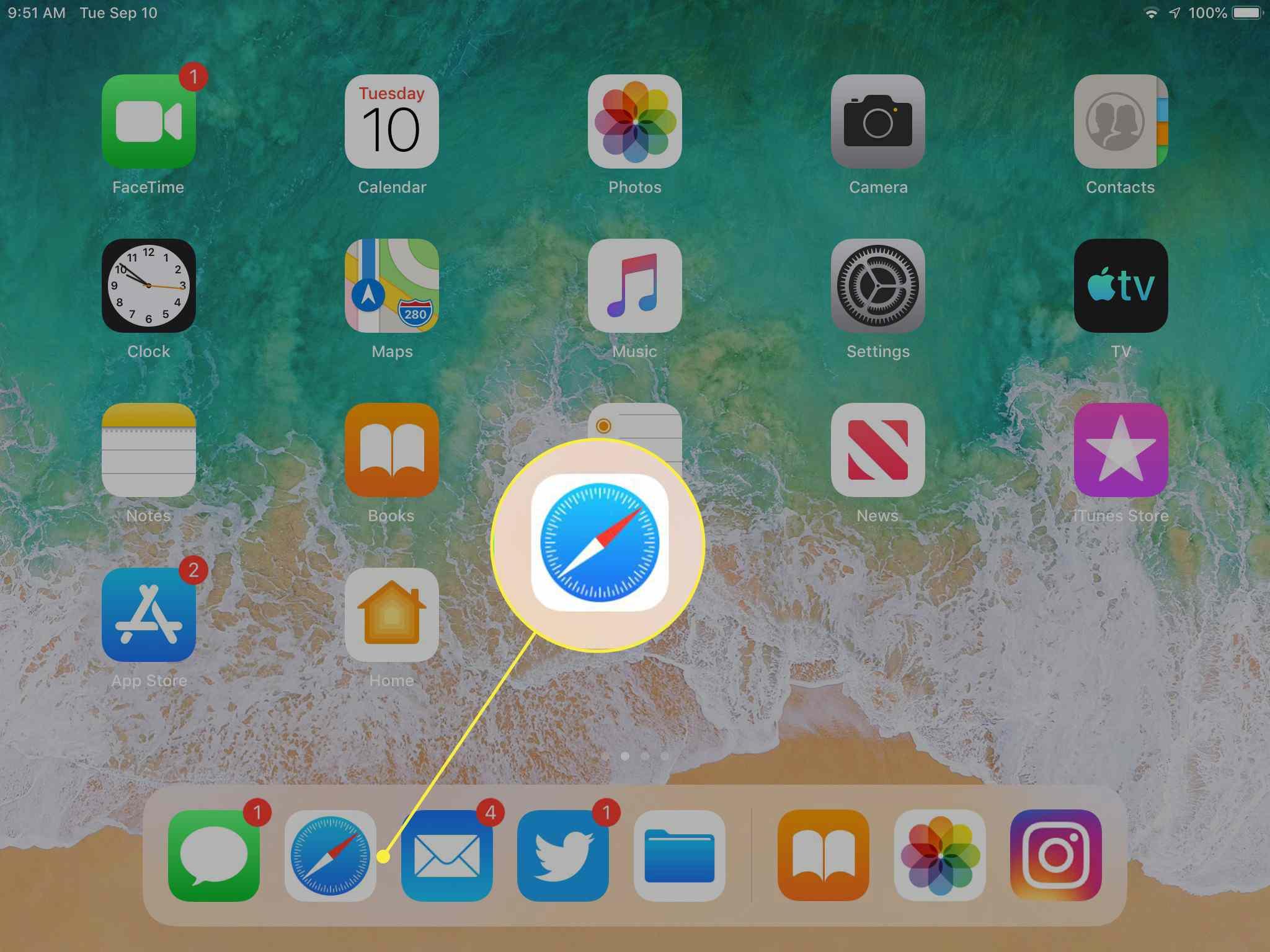 Safari on an iPad