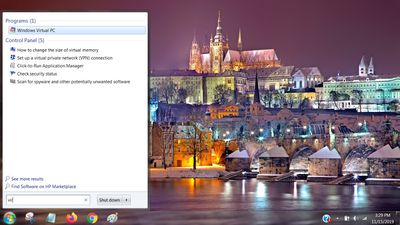 Screenshot of Windows Virtual PC in Start menu search results