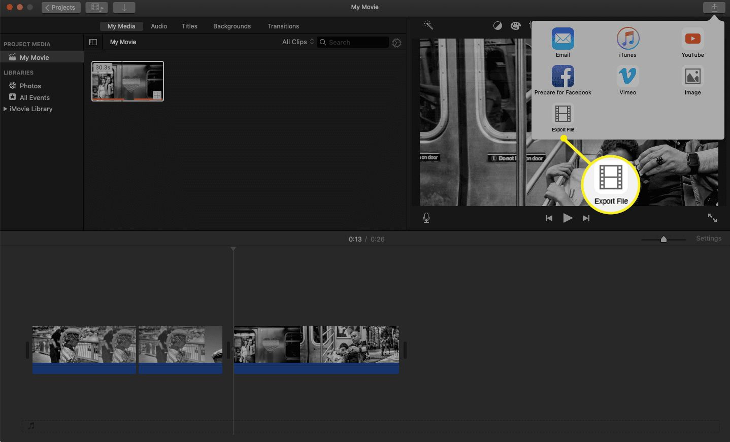 iMovie share tab with the Export File icon highlighted.