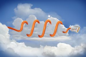 Illustrative image of cable coiled around cloud representing cloud computing