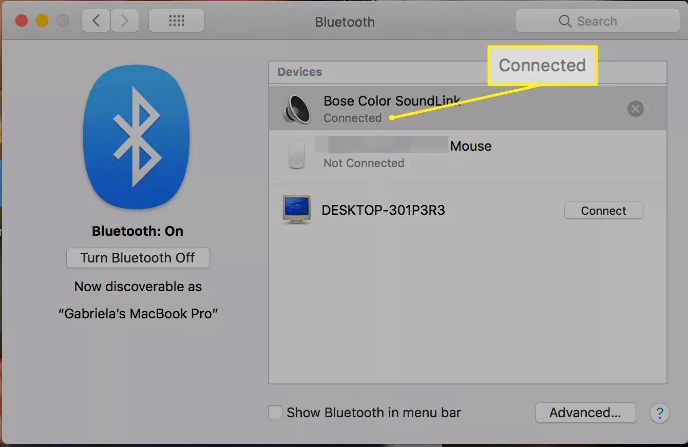 Connected status for Bluetooth device on macOS