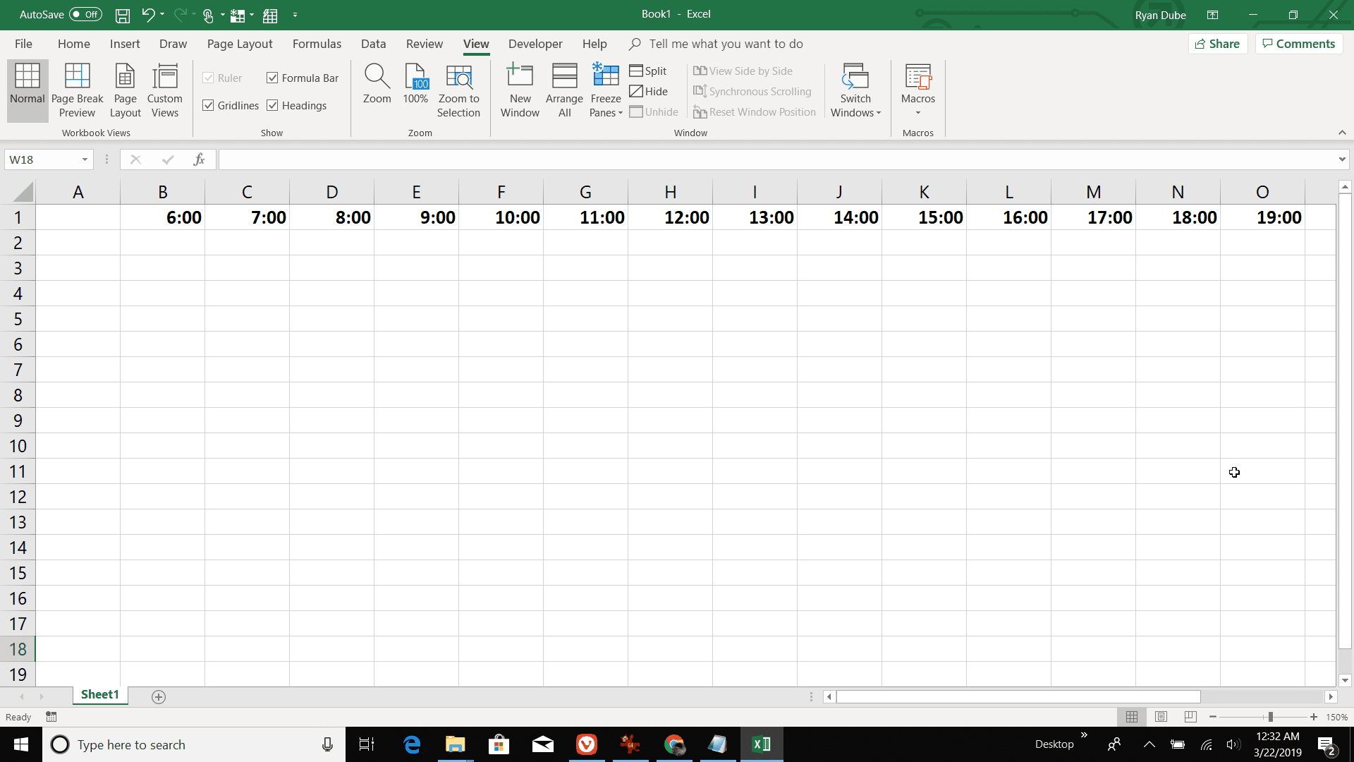 Screenshot of creating an hourly header row in Excel