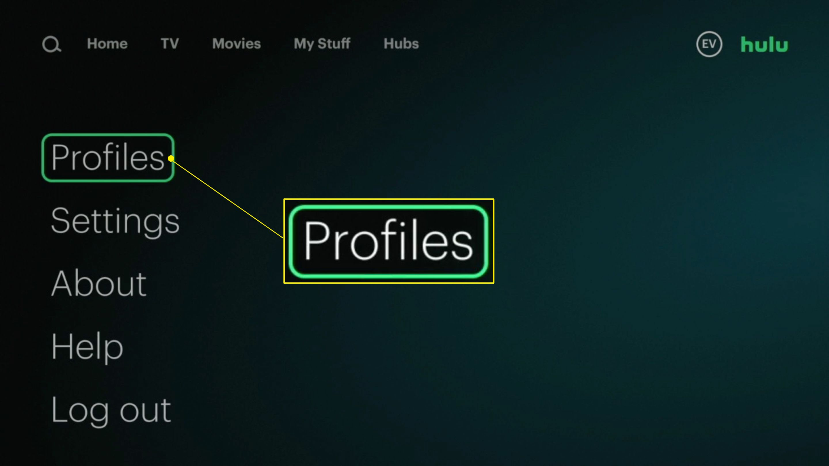 The Profiles option highlighted in the Hulu app
