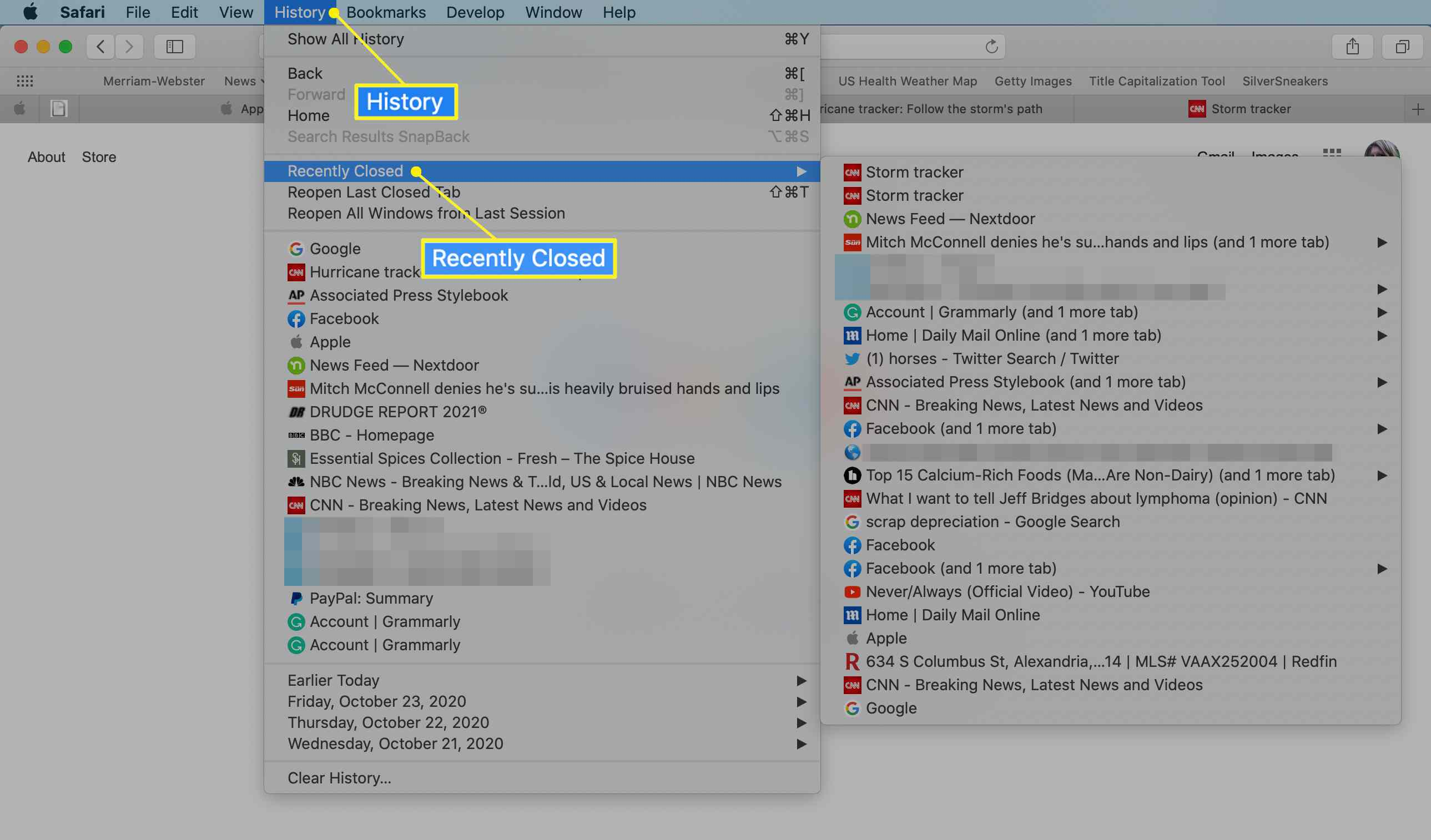 Safari History menu with Recently Closed highlighted