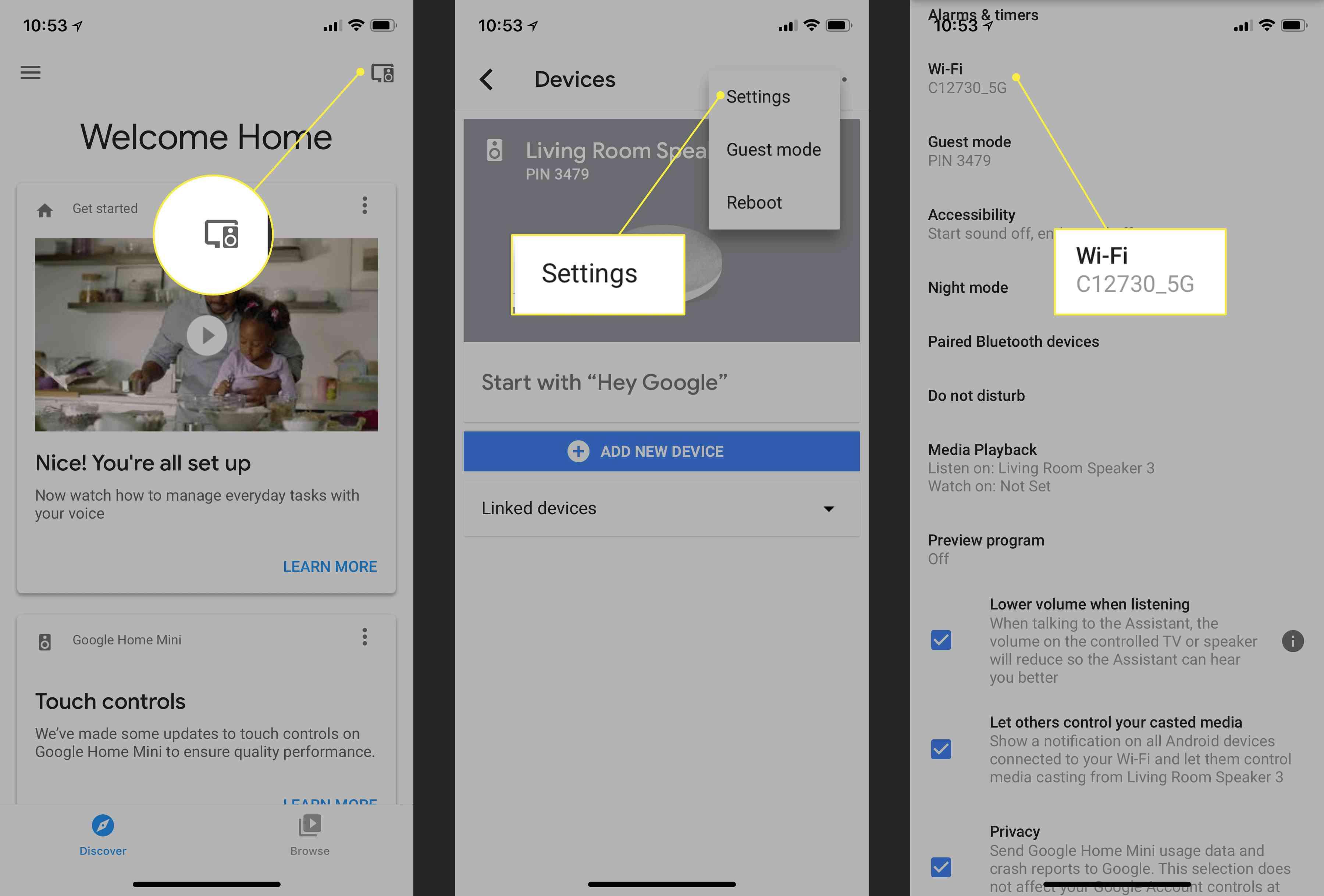 The Device menu, Settings, and Wi-Fi options