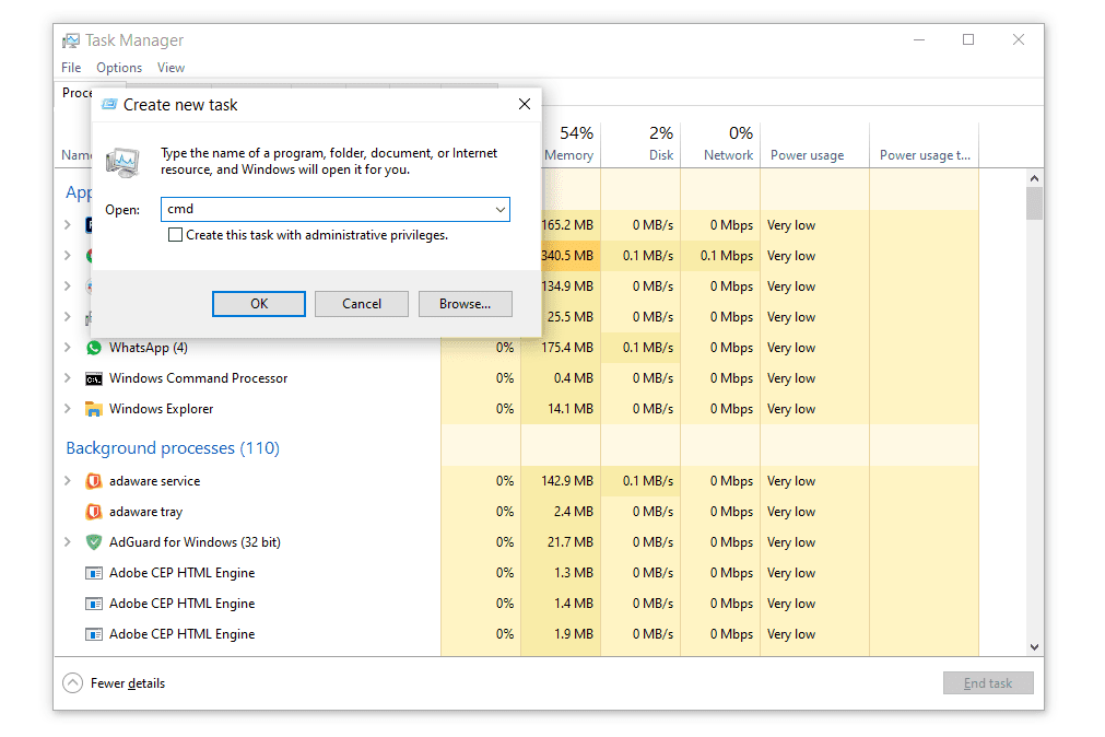 cmd command in Windows task manager