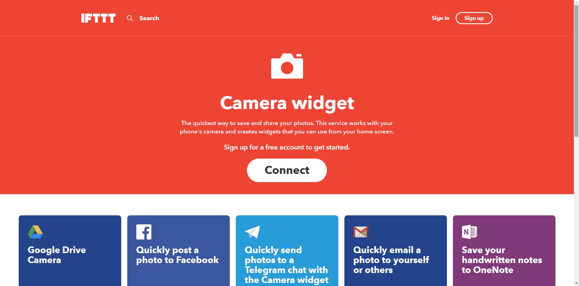 The IFTTT Camera widget app.