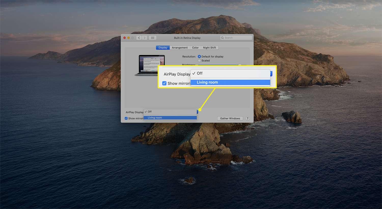 AirPlay drop-down menu options from Displays settings on macOS.