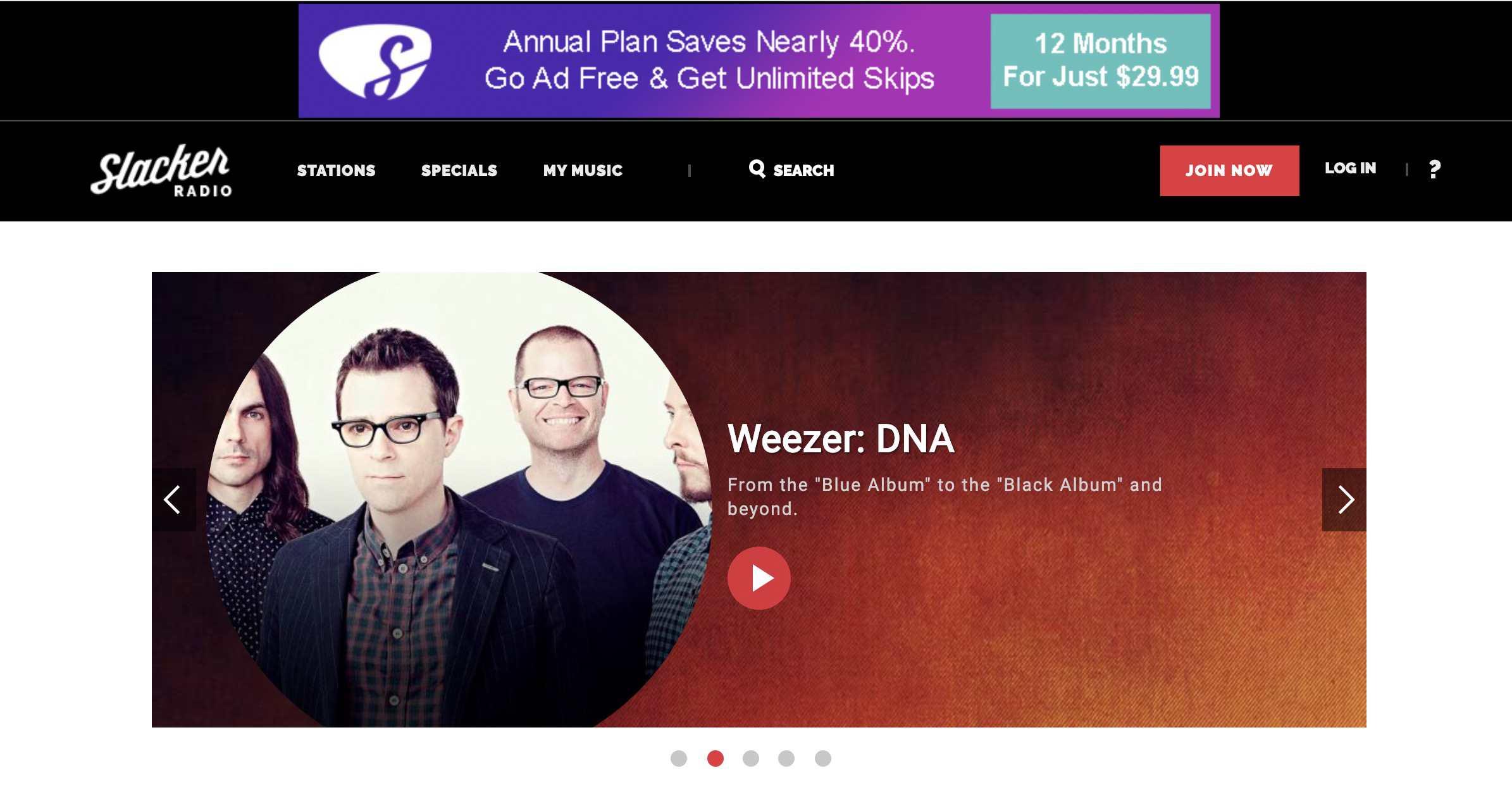 Slacker Radio website