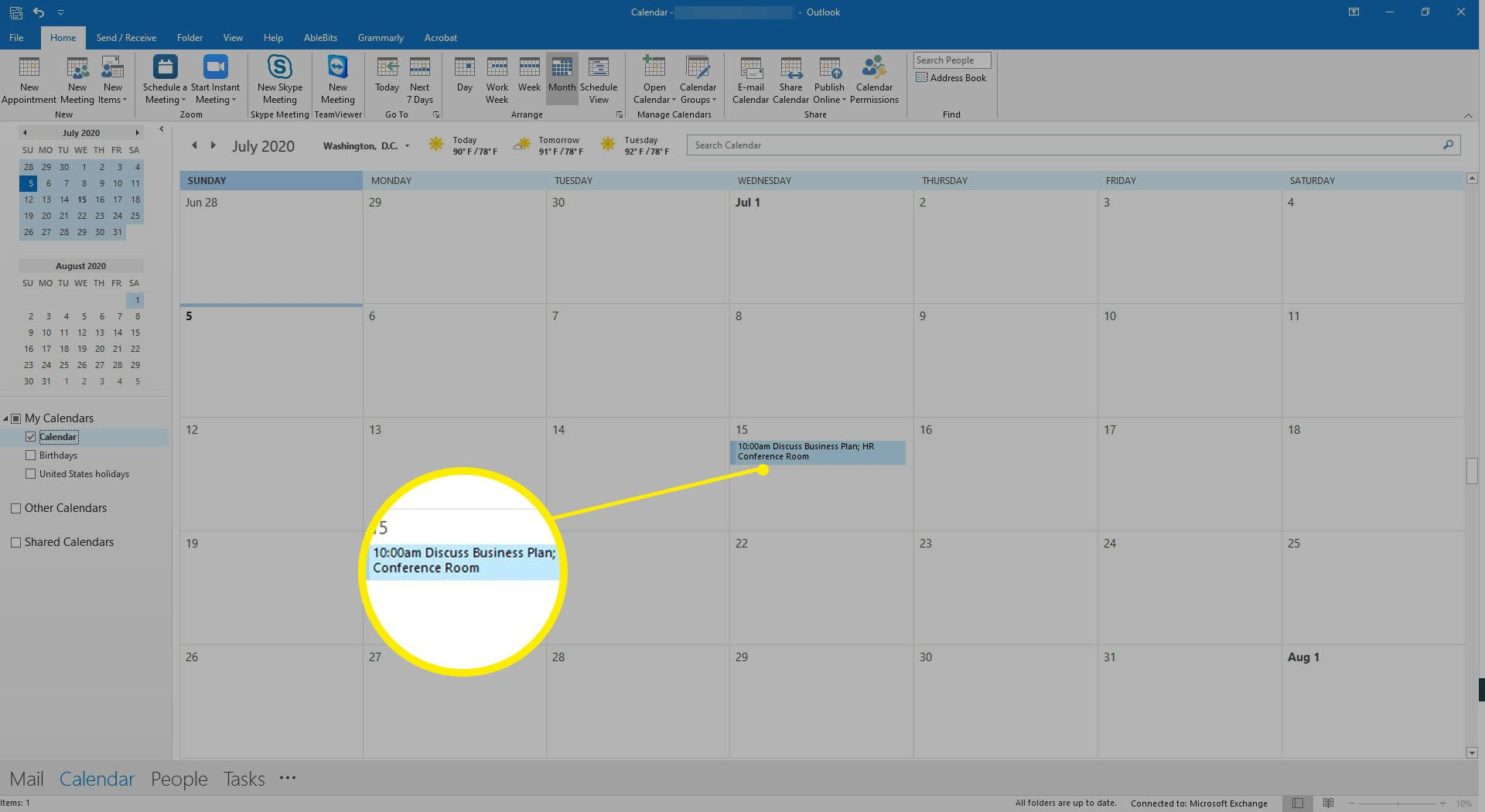 The Outlook calendar showing scheduled meetings.