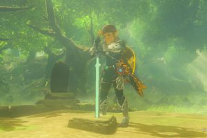 Pulling the Master Sword from its pedestal in The Legend of Zelda: Breath of the Wild