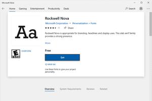 Rockwell Nova font download page