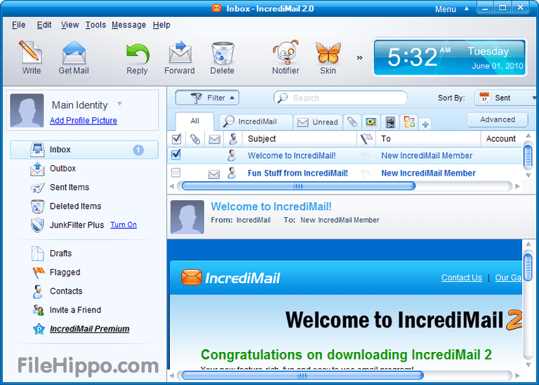 Screenshot of the IncrediMail client