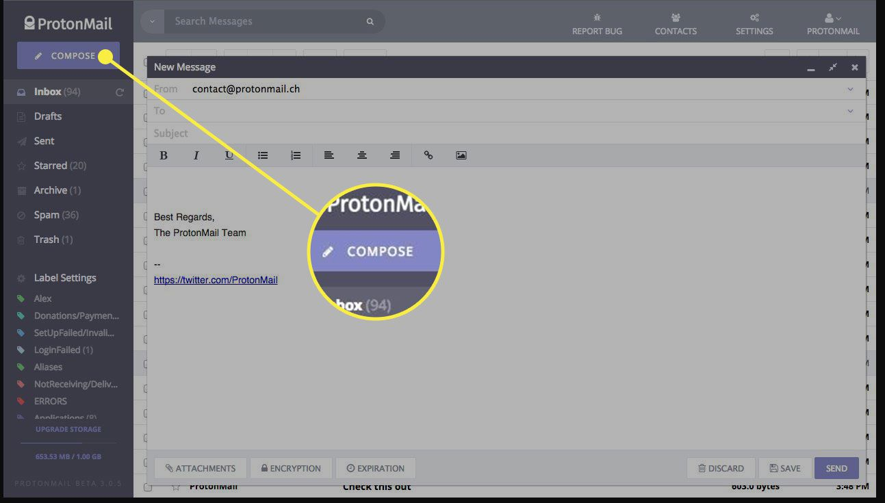 A screenshot of Proton Mail with the Compose button highlighte