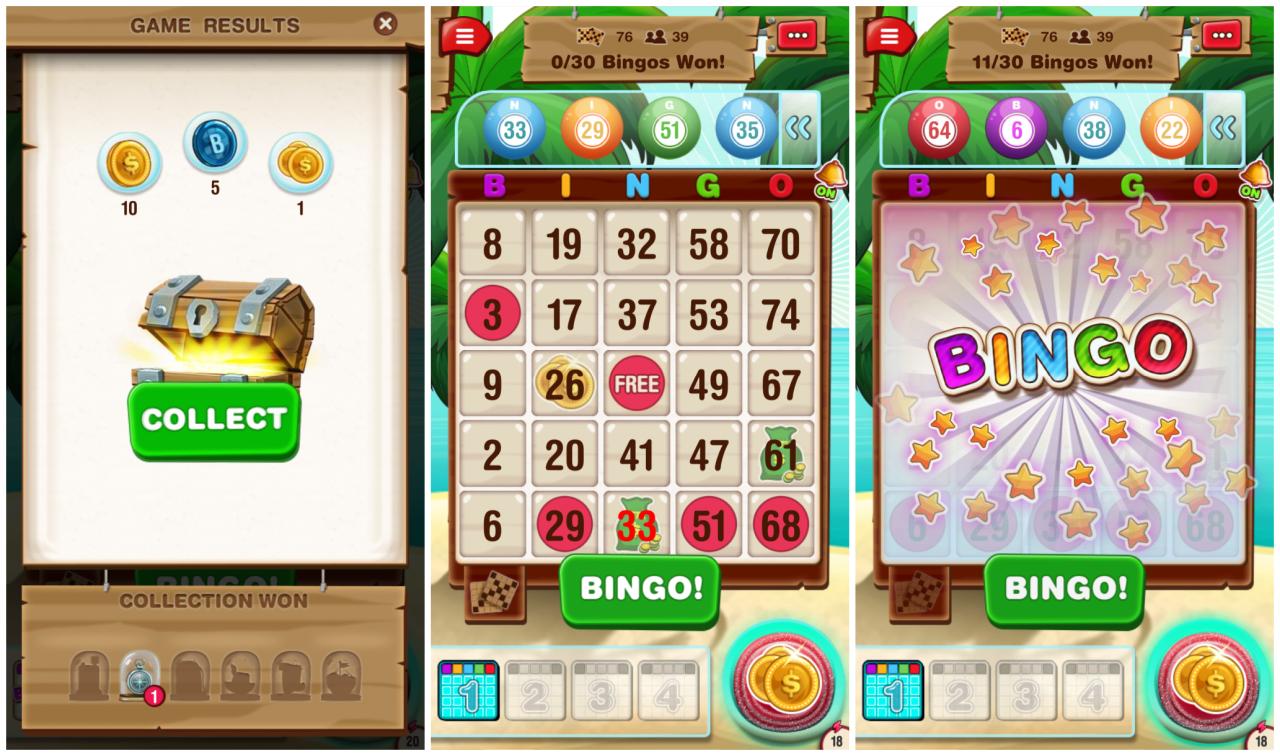 Screenshot of playing Bingo Island on Android