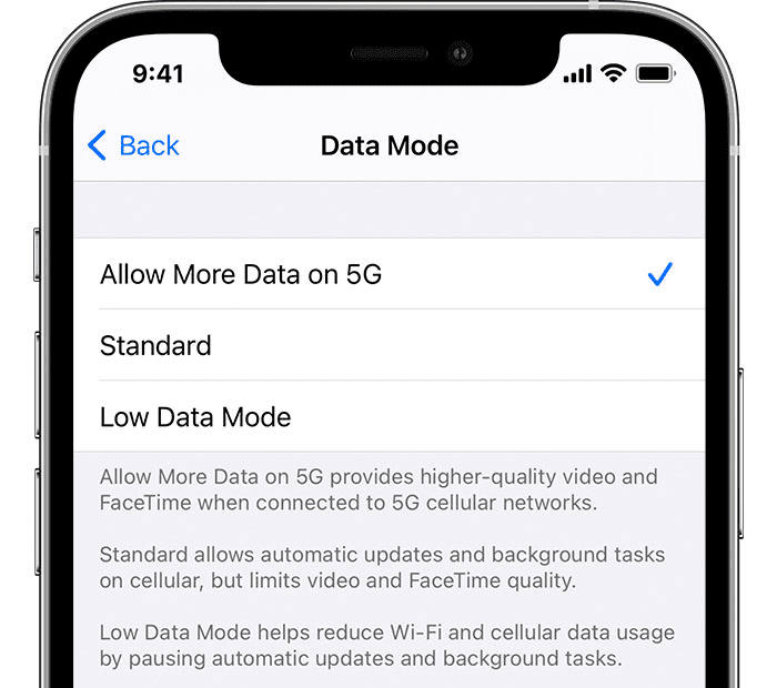 iPhone 12 5G data mode settings