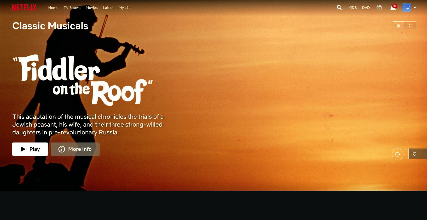 Fiddler on the Roof, found with Netflix hidden codes