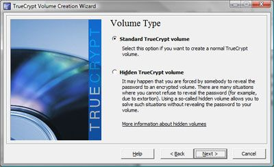 TrueCrypt volume type window