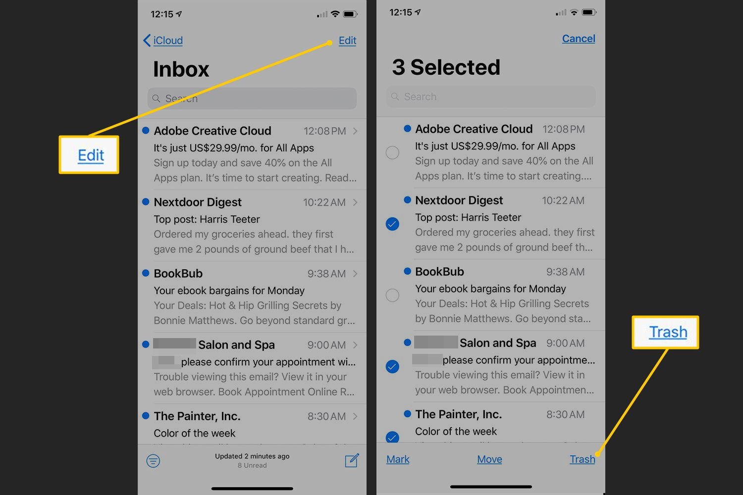 Edit button, Trash link button in iOS Mail
