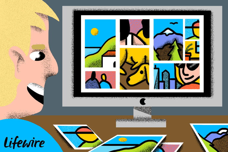 Illustration of a person using their iMac to manage their photos