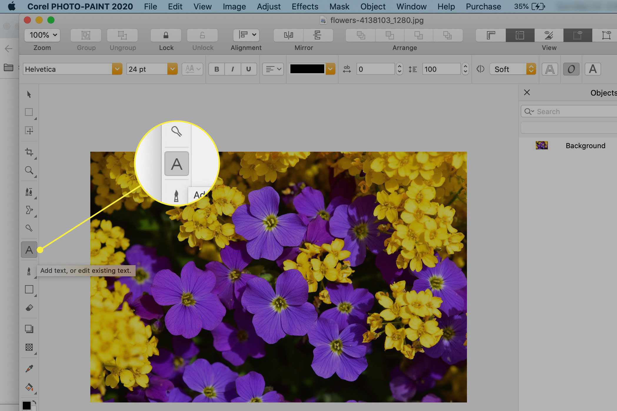 The Text tool in Corel Photo-Paint