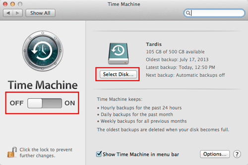 Time Machine preferences in macOS