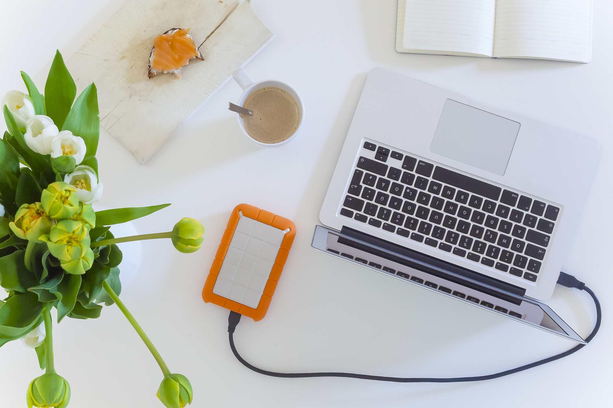 An external hard drive on a table.