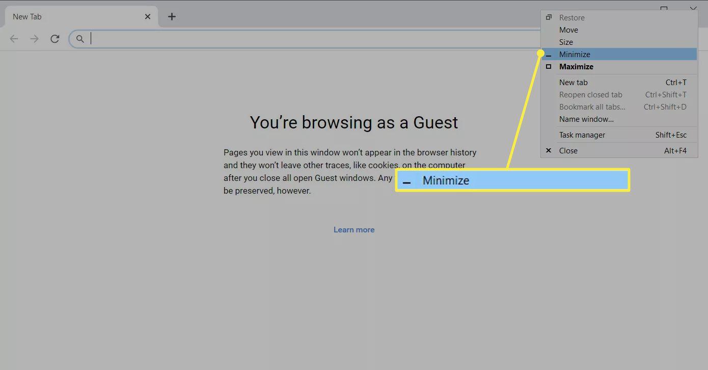Right-Click menu to minimize Chrome in Windows 10