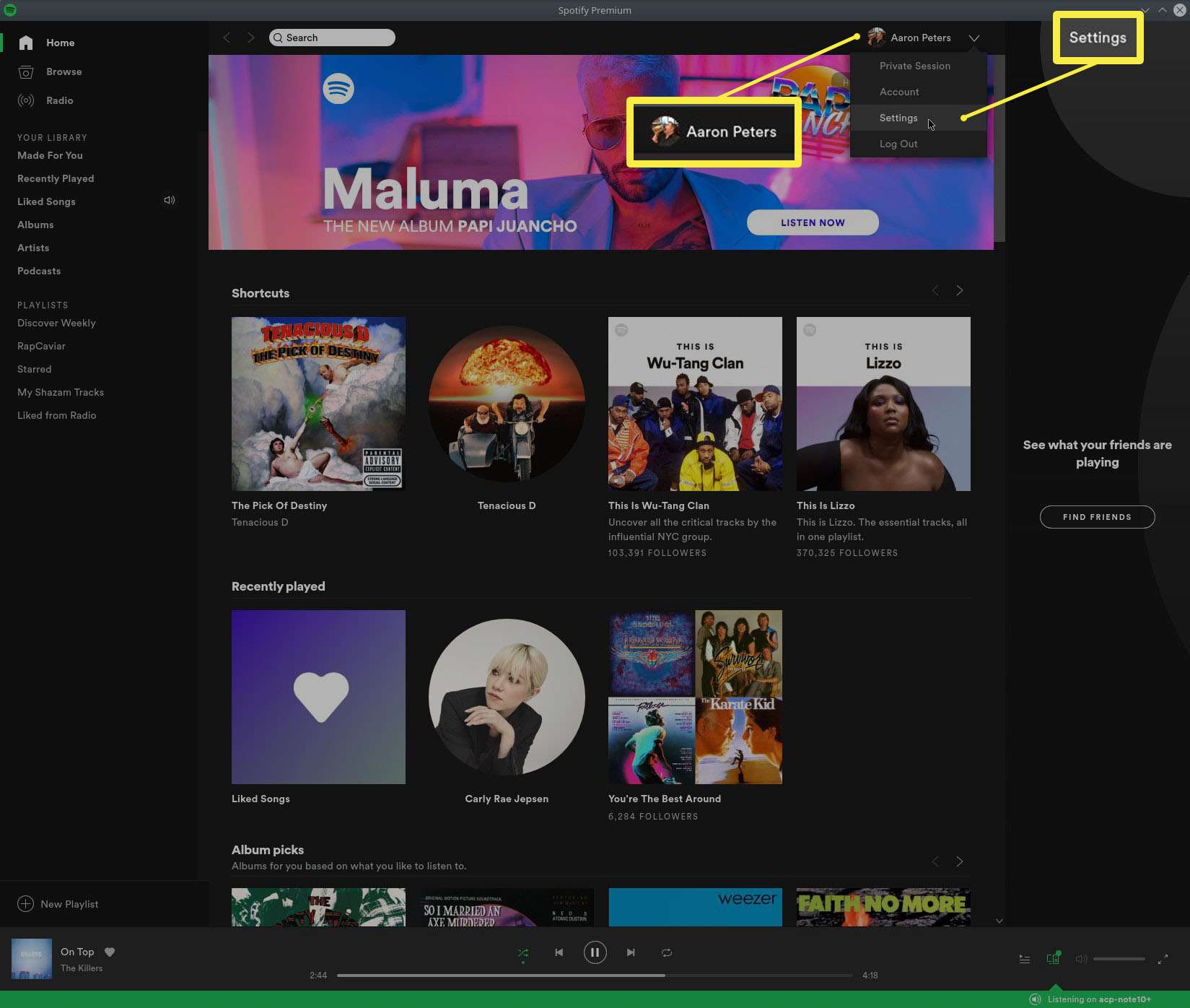 The Spotify User Menu's Settings Option.