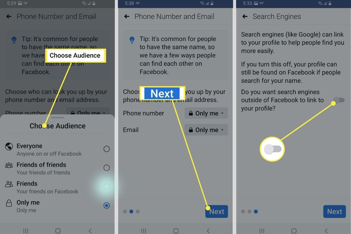 Choose Audience > Next > Search Engine option toggled off in Facebook app settings