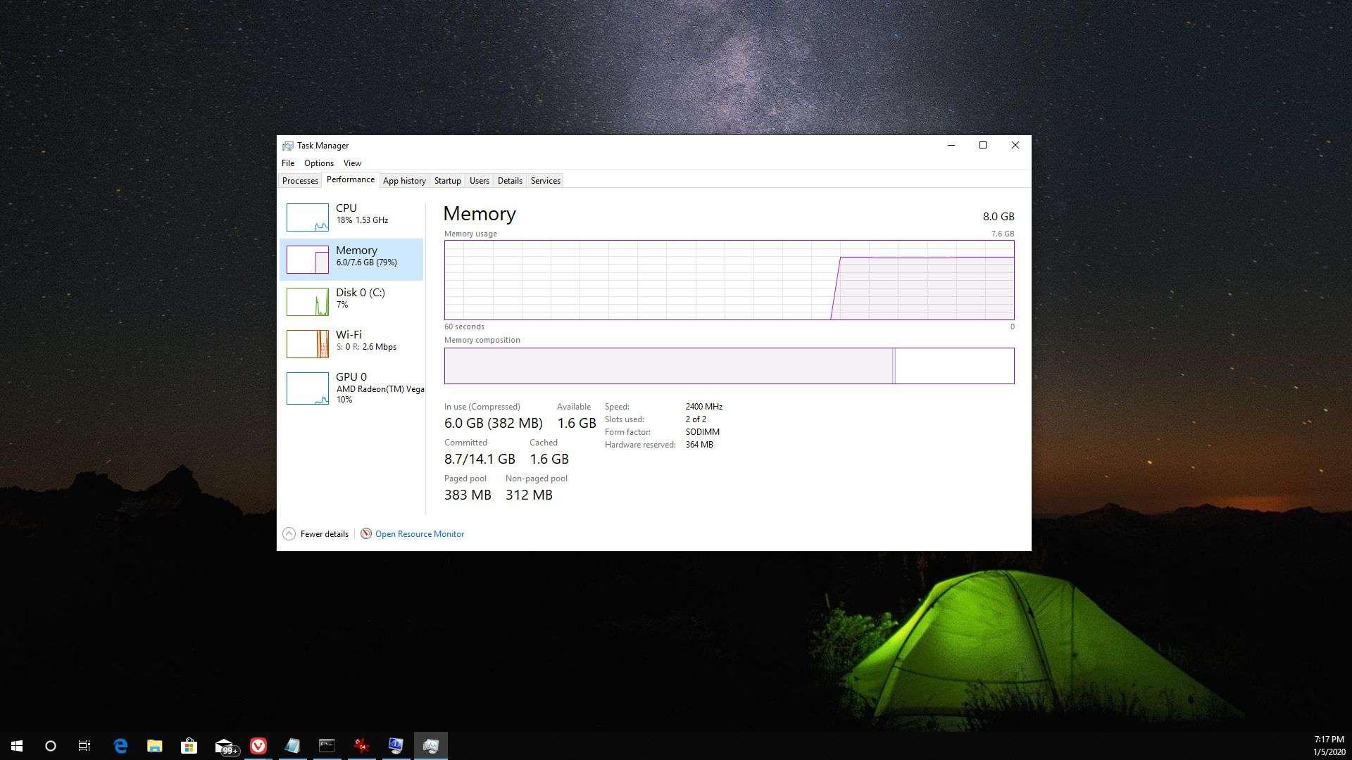 Screenshot of RAM in the Windows 10 taskbar