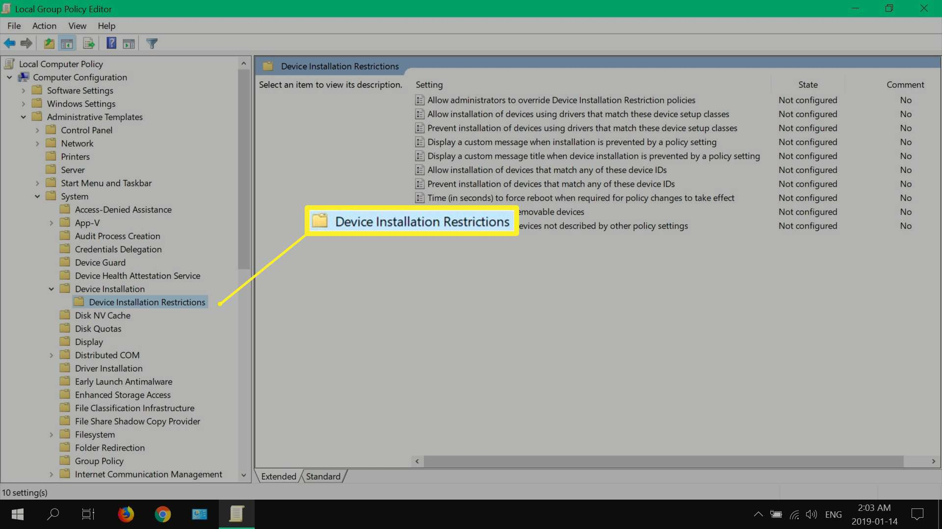local group policy editor in Windows 10 Pro