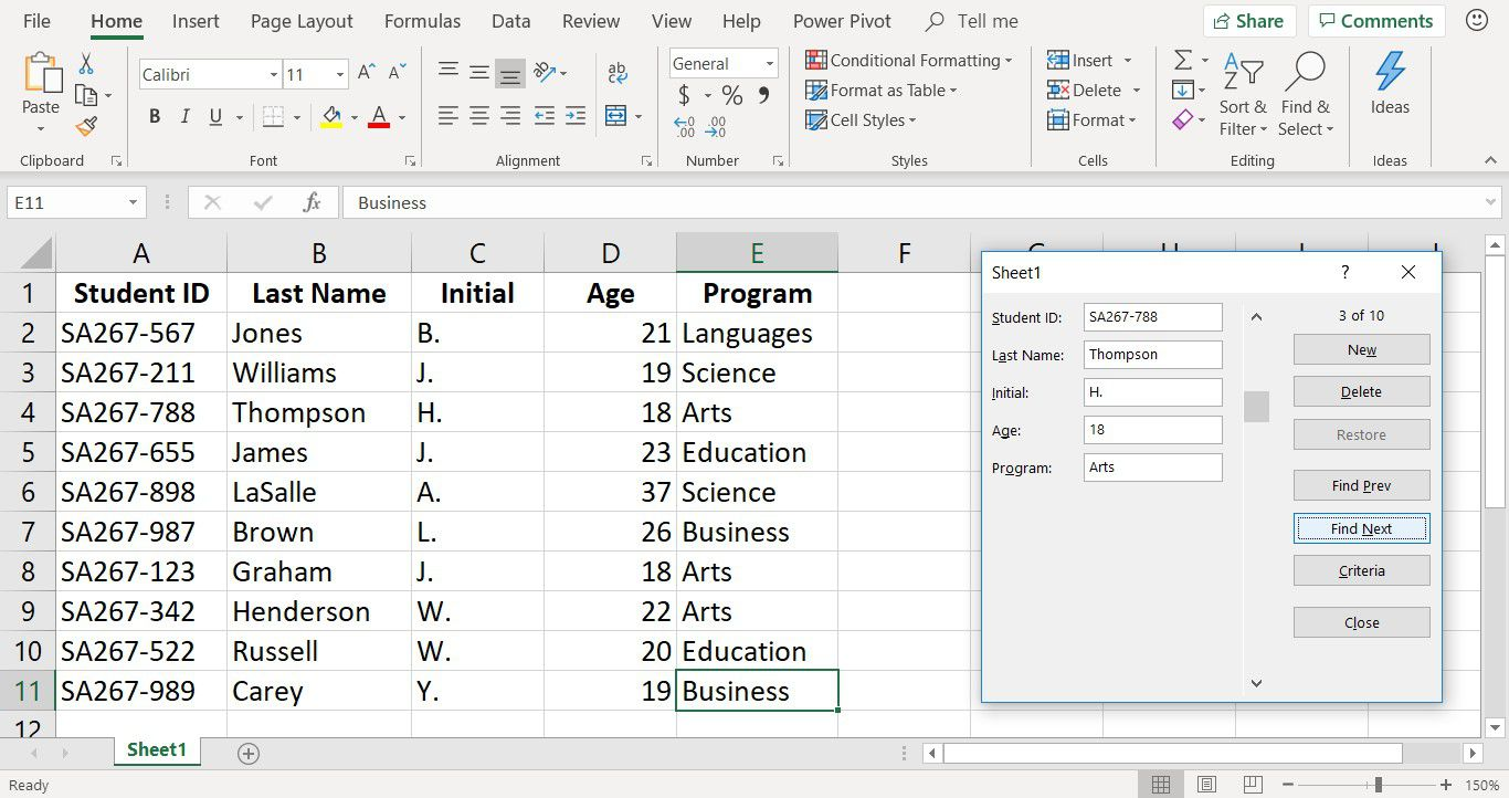 A screenshot of the Excel data entry form used to search for records
