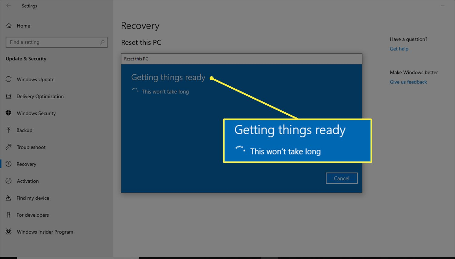 Getting things ready message that appears when a PC prepares to reset