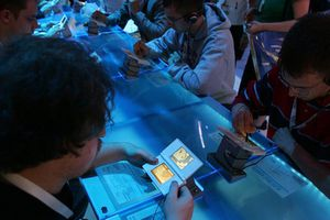 People testing and playing Nintendo DS