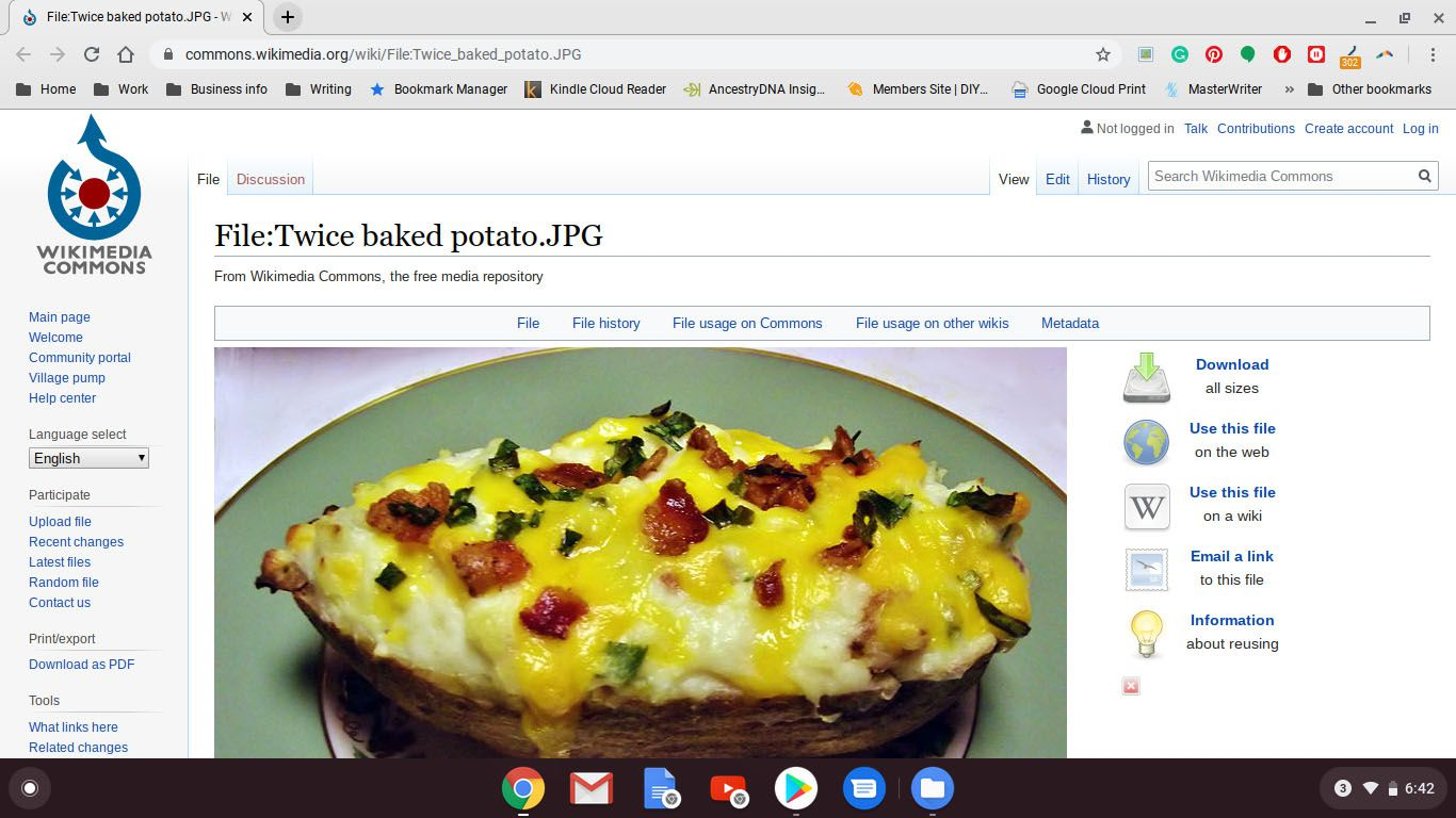 Image of a baked potato on a website.